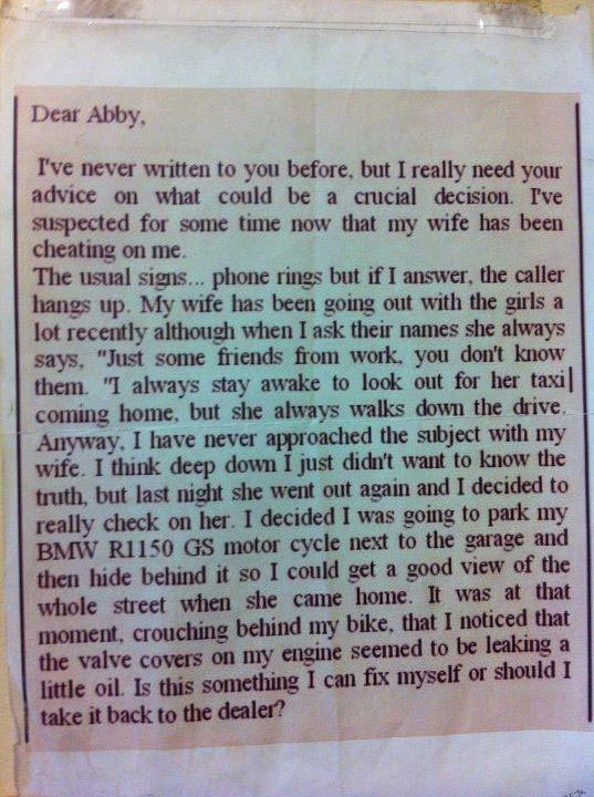 Dear Abby, I've never written to you before… — Ned Martin's Amused